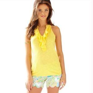 Lilly Pulitzer Shay Yellow Tank Top Ruffled XS